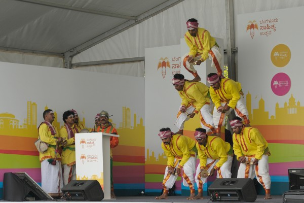 Dancers performing Kamsala, a traditional folk dance of Karnataka.